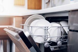 The dishwasher saves water